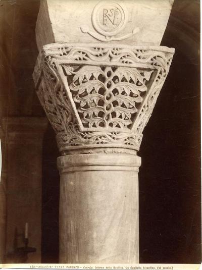 Ed. Alinari, n. 21242. Parenzo - Istria. Interno della Basilica. Un capitello bizantino (VI secolo)