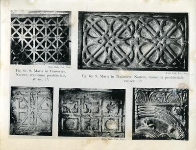 S. Maria in Trastevere, Nartece, transenna presbiteriale, IV sec. (?); S. Maria in Trastevere, Nartece, transenna presbiteriale, VIII sec. (?)