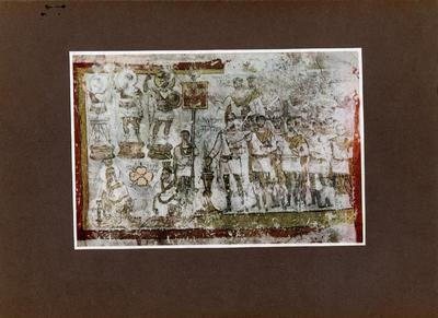 Dura Europos, affresco trov. nel 1920 tra le rovine del tempio delle divinità palmirene, nella fortezza di Dura: il tribuno Julius Terentius, assistito dal sacerdote Mokimos, sacrifica alle tre divinità di Palmira Bel, Iahribol e Ablibol