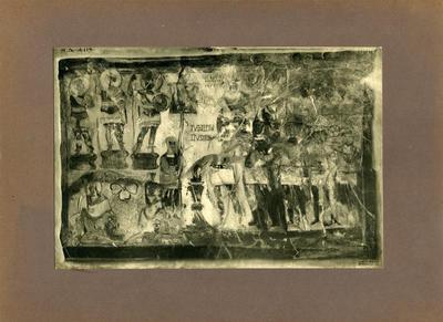 Dura Europos - Affresco nel tempio delle divinità palmirene: il tribuno Julius Terentius sacrifica a Bel, Ablibol e Jahribol