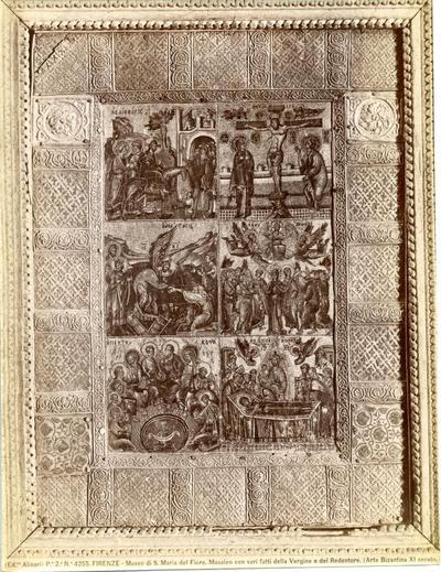 (Ed.ne Alinari). P.e 2.a N.° 4255. Firenze - Museo di S. Maria del Fiore. Mosaico con vari fatti della Vergine e del Redentore. (Arte Bizantina XI secolo.)
