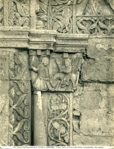 (Ed.ne Alinari - Riproduzione interdetta) N. 35328. S. LEONARDO - Puglie. Porta sul fianco della Chiesa, un particolare. (XII secolo)