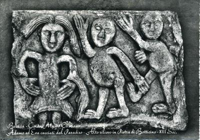 Brescia - Civico Museo Cristiano - Adamo ed Eva cacciati dal Paradiso - Alto rilievo in pietra di Botticino - XIII sec.
