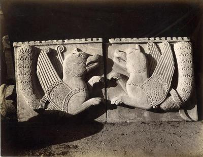 Istanbul, Archaeological Museum, two reliefs with the representation of the mythical bird Simurgh or Semourv