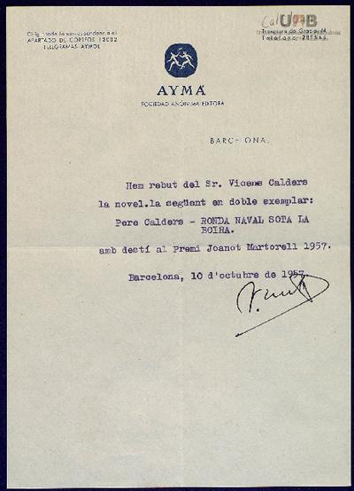 Rebut de Jaume Aymà a Vicenç Caldés Arús , 10 octubre 1957