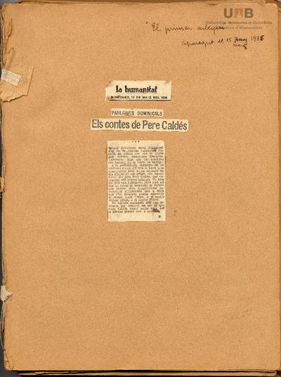 [Àlbum de la recepció de l'obra de Pere Calders : crítiques literàries, notes de premsa, cartes i retalls diversos]