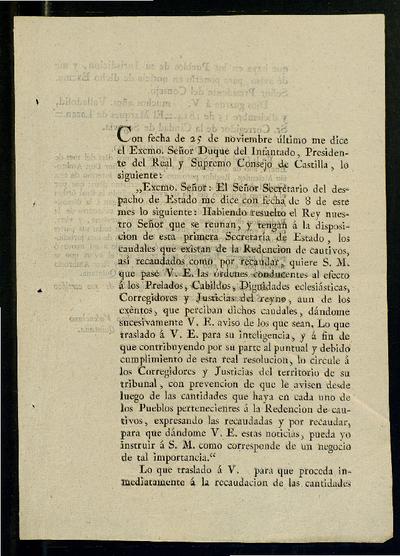 Con fecha de 25 de noviembre último me dice el Excmo. Señor Duque del Infantado, Presidente del Real y Supremo Consejo de Castilla ...