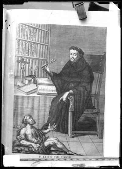 Grabado : Retrato del escritor fray Luis de León.