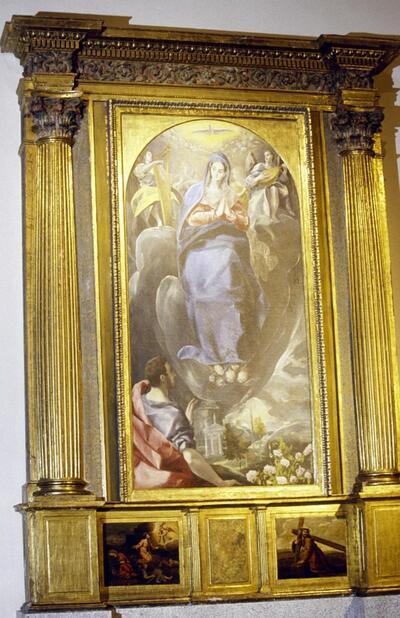 Inmaculada Concepción contemplada por San Juan de El Greco en la iglesia de Santa Leocadia.