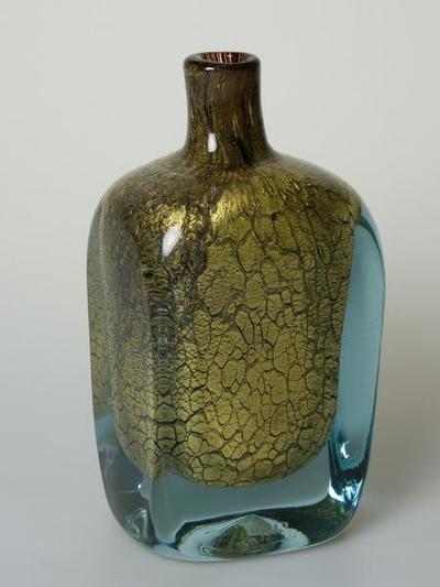 Flaschenvase mit Gold-Craquelée