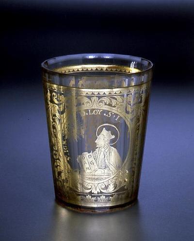Zwischengoldglas mit Brustbild des Heiligen Ignatius