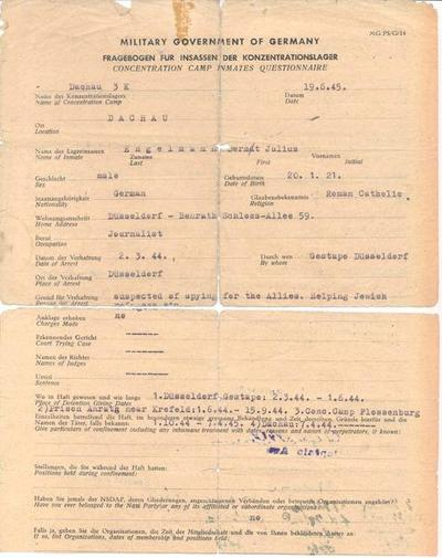 Fragebogen für Insassen der Konzentrationslager