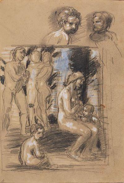 Kompositionsstudie zum Gemälde Lob der Bescheidenheit
