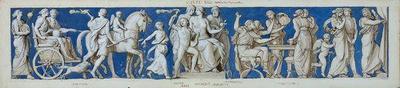 Entwurf für den Fries im Ball- und Konzertsaal des Dresdner Schlosses, zweites Bild: Gymnastische Spiele