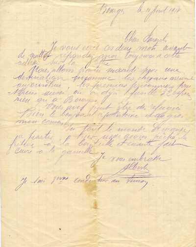 01, lettre du 11 août 1914 à ses parents