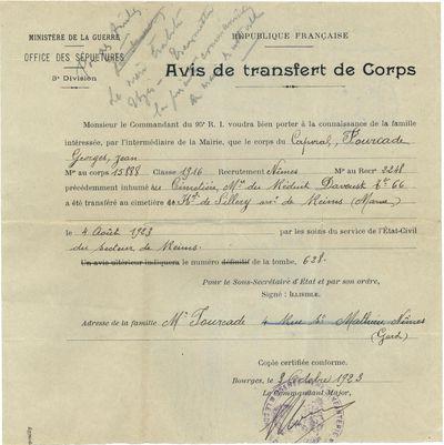 Avis de transfert du corps de Georges FOURCADE