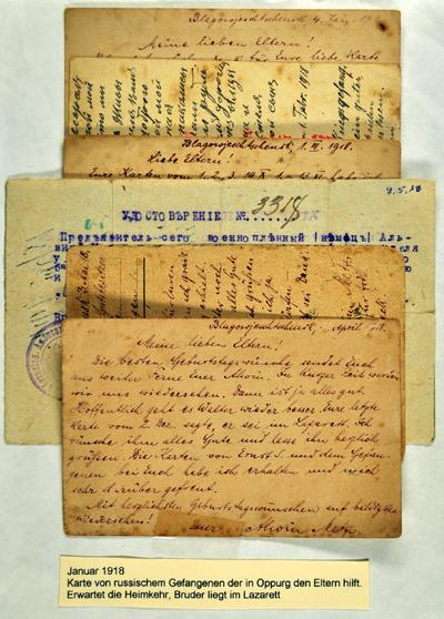 Feldpost Alwin Metz Januar bis Mai 1918: Zwei Kriegsgefangene verschiedener Nationen schreiben sich