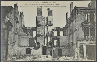 Postcard - Arras - bomb damage to the pharmacy