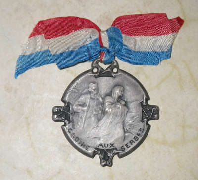 French medallion for Serbian 1915 Winter Retreat