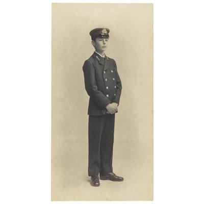 Photograph of Archibald Dickson wearing his cadet uniform and cap. © National Museums Scotland