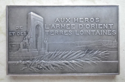 French General Guillaumat's memorial plaque to the Army of the Orient and Distant Lands