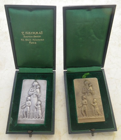 French Serbian charity plaques and medal by Szirmai