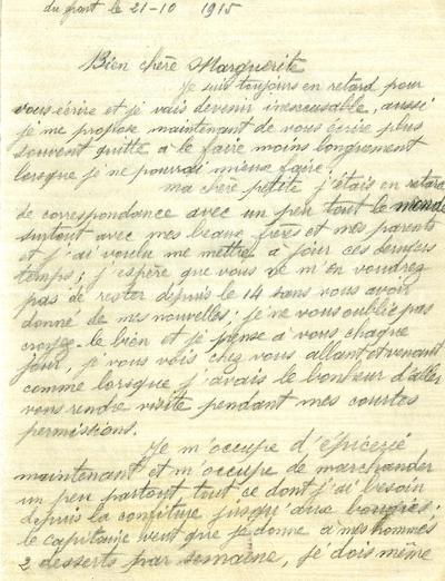 FRAD071-137 Raymond CHALUMET, au service de l'intendance, chargé du ravitaillement et de la cantine des soldats