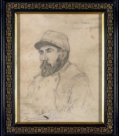 FRAD034-045 Portrait au crayon d'un poilu