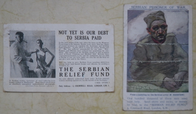 Pair of Serbian Relief Fund charity postcards