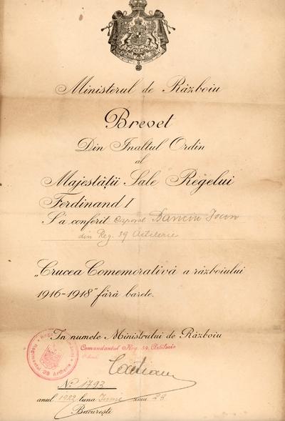 Brevet acordat caporalului Ioan Banciu