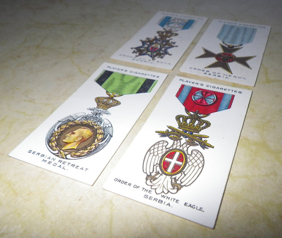 Cigarette cards for Serbian War Medals and Orders
