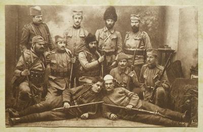 Postcard of Vojislav Tankosic and his Serbian Chetnik guerrillas