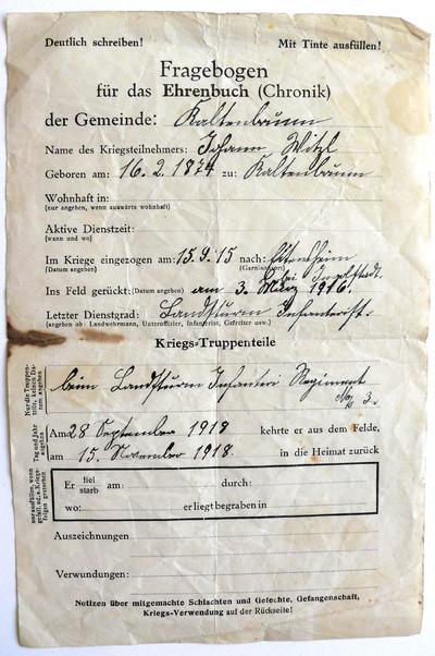 Militärpass von Johann Witzl