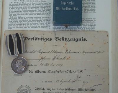 Johann Bäuerle,  bayerische Tapferkeitsmedaille silber