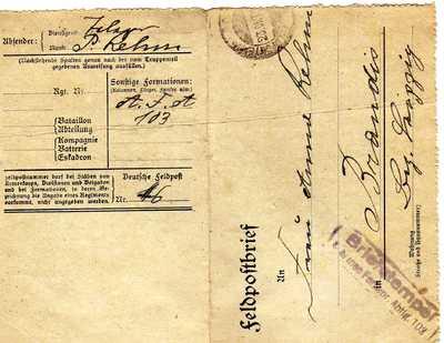 Ein Brief aus der Endphase des Krieges