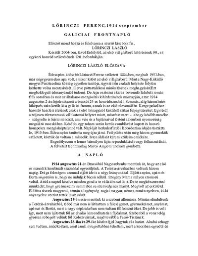 Jurnalul de front al lui Lörinczi Ferenc, un voluntar în Armata Austro-Ungară - transcris