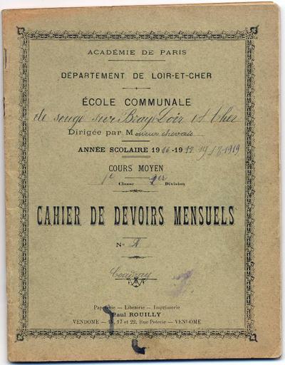 Ernest Coudray, écolier pendant la Grande guerre