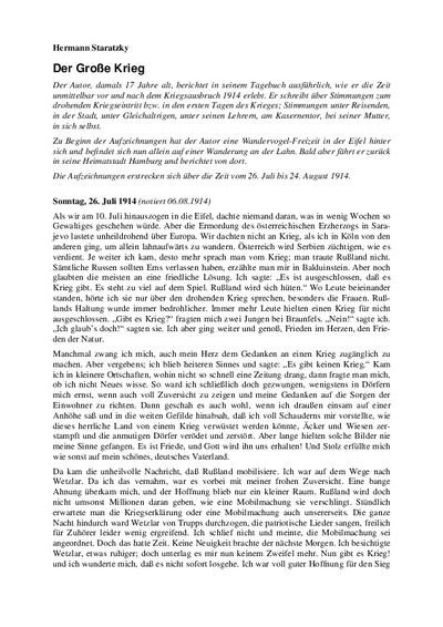 Hermann Staratzkys Kriegstagebuch Der Große Krieg