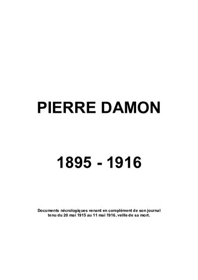 PIERRE DAMON 1896-1916 sous-lieutenant au 49ème R.A.