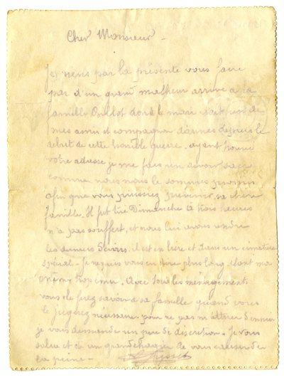 FRAD067-122 Auguste Gresset annonce à ses proches la mort à son poste de combat du Franc-Comtois Alexis Antoine Billot, le 4 juillet 1915