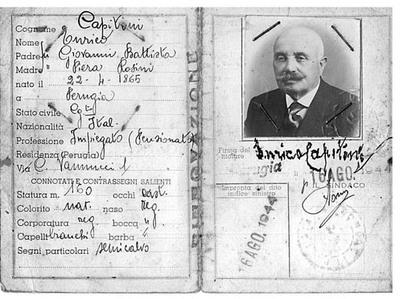 Documenti di Aldo Capitini. Carta identità Enrico Capitini. 2
