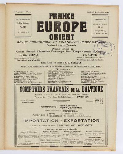 France-Europe orientale : bulletin officiel du Comité national d'expansion économique dans l'Europe orientale