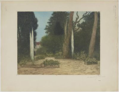 [Villa d'Este, Tivoli, le rond-point] : [estampe] / Ch. Houdard