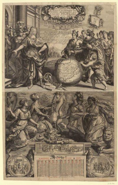 MONSEIG.¦R¦ LE DUC / D'ANIOU ACCEPTANT LES / PREMIERS HOMMAGES DES / ROYAUMES D'ESPAGNE. / A Versailles Le 16.¦me¦ de No - uembre / 1700. : [estampe] / de L'armessin Sculp.