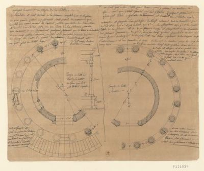 Temple de Vesta à Tivoly ... ; Temple de Vesta à Rome : [dessin] / [Jean-Jacques Lequeu]