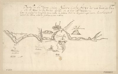 Puerto de la Vera-Cruz, Nueva con la furca de San Juan de Lun en el reino de la Nueva Spaña en el mar del Norte : [dessin]