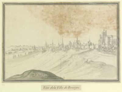 Aspet de la Ville de // Bourges retournant de Lassenet : Veüe de la Ville de Bourges : [dessin] / [Etienne Martellange]