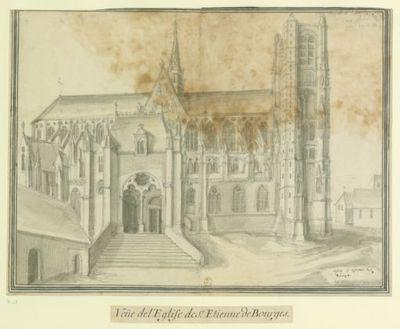 Eglise S. Etienne de // Bourges : Veüe de l'Eglise de S.t Etienne de Bourges : [dessin] / [Etienne Martellange]