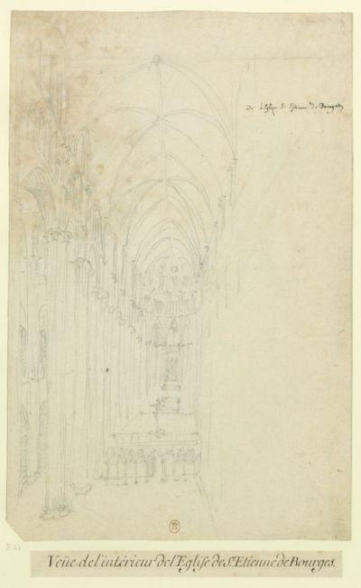De l'Eglise S. Etienne de Bourges : Veüe de l'intérieur de l'Eglise de S. Etienne de Bourges : [dessin] / [Etienne Martellange]