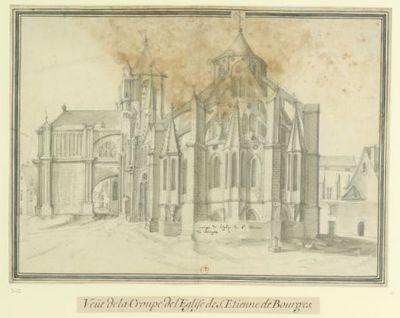 Crouppe de l'Eglise de St Etienne // de Bourges : Veüe de la Croupe de l'Eglise de S. Etienne de Bourges : [dessin] / [Etienne Martellange]